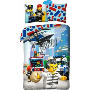 LEGO CITY DEKBEDOVERTREK MET BRANDWEER en politie