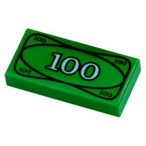 Tegel 1 x 2 met 100 dollar opdruk Green