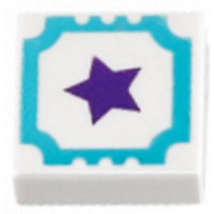 tegel 1x1 met dark purple ster opdruk white