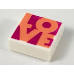 tegel 1x1 met love opdruk white