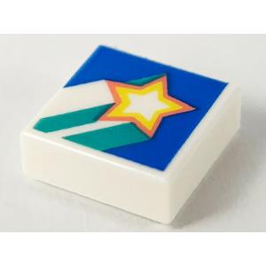 tegel 1x1 met vallende ster opdruk white