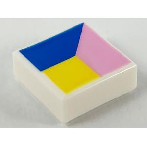tegel 1x1 met veelhoeken opdruk white