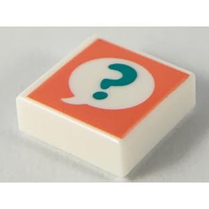 tegel 1x1 met vraagteken opdruk white