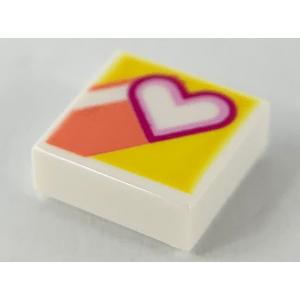 tegel 1x1 met hart opdruk white