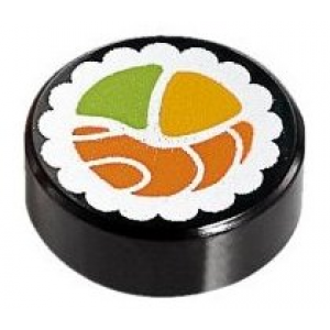 tegel 1x1 rond met sushi opdruk black