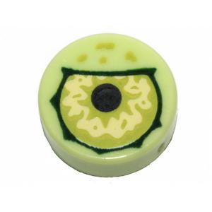 tegel 1x1 rond met oog opdruk yellowish green